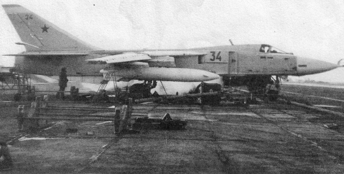 Soviet 733rd Tactical Bomber Air Regiment's Su-24 Fencer-A at Domna