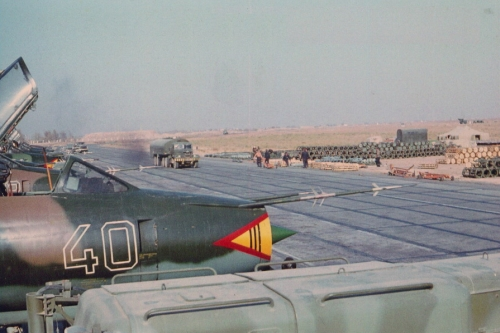 302nd Fighter-Bomber Aviation Regiment Su-17M4 Fitter-K  at Kokaydy airbase close to the Afghan border