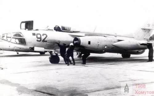 Soviet 164th independent Guard Reconnaissance Air Regiment Czechoslovakia Pardubice airport in July 1968. Yak-28R Brewer-D
