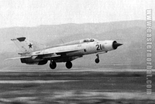 Soviet Air Force Turkestan Military District MiG-21PFM Fishbed-F with GP-9 gun pod 217th Fighter-Bomber Air Regiment Kzyl-Arvat airport