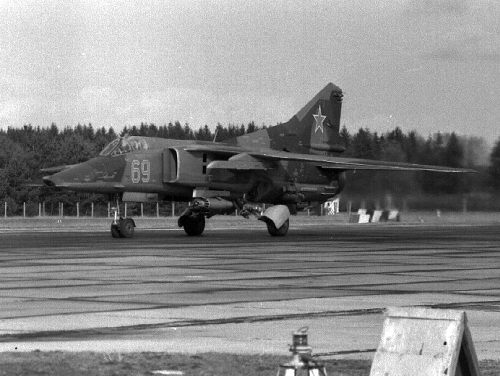 Soviet MiG-27K Flogger-J2 at the Lärz airport in 1983 East Germany