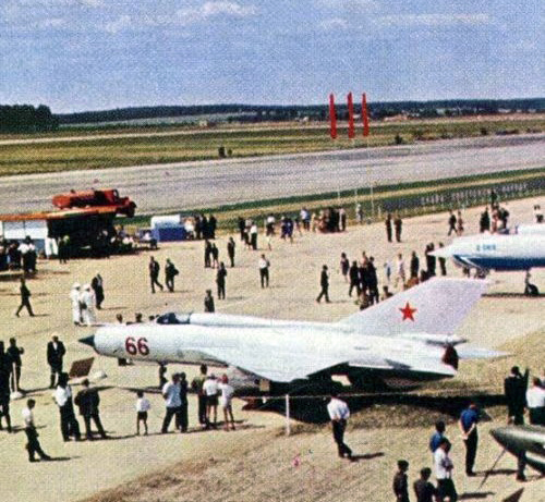 The Soviet 234th Guard Fighter Air Regiment's MiG-21FL Fishbed-D export fighter version on Domodedovo Air Show in 1967.