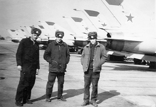 USSR 27th Guard Fighter Air Regiment's crews front of their factory new MiG-21bis Fishbed-L in Usharal.