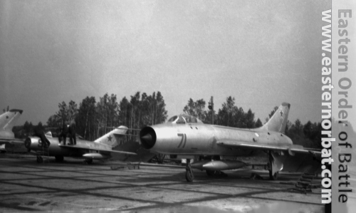 Soviet 305th Fighter-Bomber Air Regiment Su-7B Fitter-A and MiG-15UTI Midget at Postavy