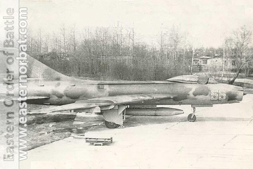 Soviet 305th Fighter-Bomber Air Regiment Su-7BMK Fitter-A export version at Postavy