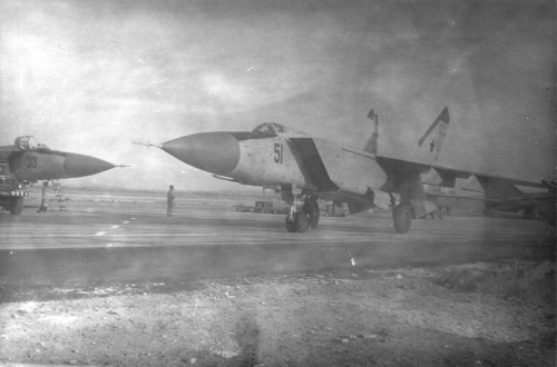 Soviet MiG-25P Foxbat-A interceptors at Nasosnaya airport close to Baku city in the seventies