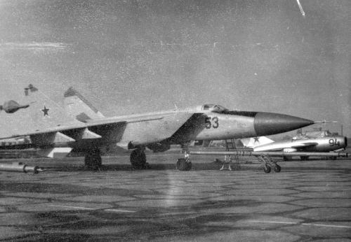Soviet MiG-25P 'Foxbat-A' interceptors and MiG-15UTI 'Midget' trainer aircraft at Nasosnaya airport close to Baku city in the seventies