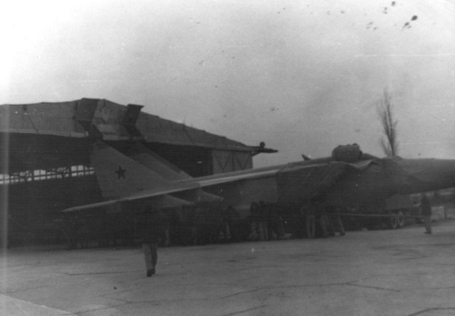 Soviet MiG-25P Foxbat-A interceptors on the 210th industrial aircraft repair factory at Nasosnaya airport