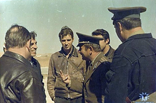 Soviet Air Force 905th Fighter Air Regiment pilots in  Usharal in 1975