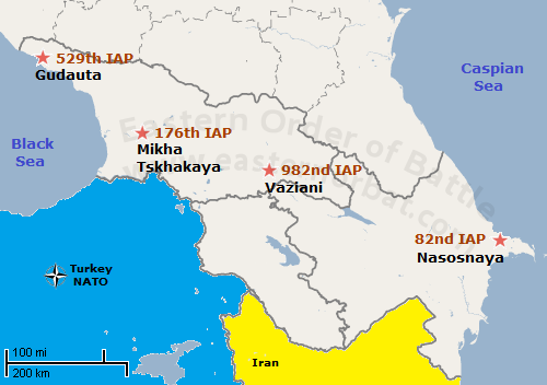 Air Defence of the Transcaucasian Military District order of battle map in 1983