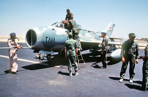 A late production F-6 of the Egyptian Air Force on the ramp at Cairo West Air Base during exercise Bright Star '83.