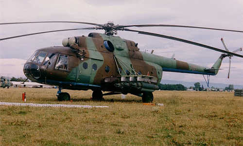 Hungarian Mi-17 Hip-H cargo helicopter in Cold War,  with UB-32 rocket pods. Photo: Simon László