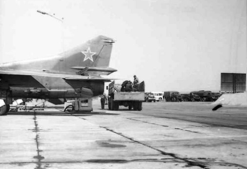 Soviet 129th Fighter bomber air regiment's MiG-27 Flogger-D with bomb in Taldy Kurgan in 1982