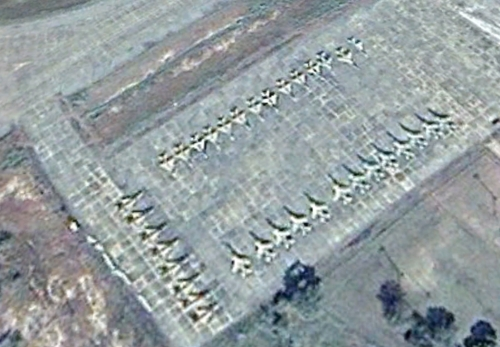 Nigerian MiG-21 and SEPECAT Jaguar storage on Makurdi airbase in 2009