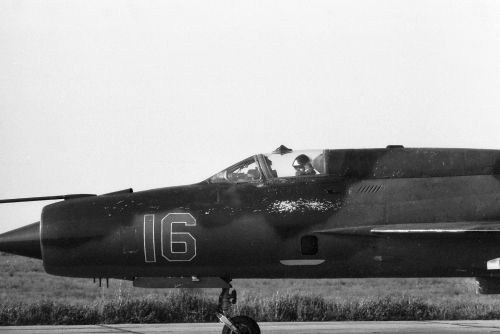USSR MiG-21PFM 'Fishbed-F' at Privolzhskiy, Astrakhan airport on the STRELBA-85 exercise in 1985