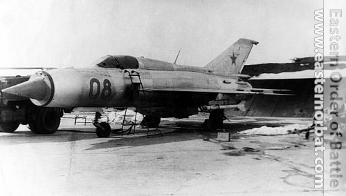Soviet Air Forece 161st Fighter Air Regiment's MiG-21PFM Fishbed-F with R-3S AA-2 air to air missile