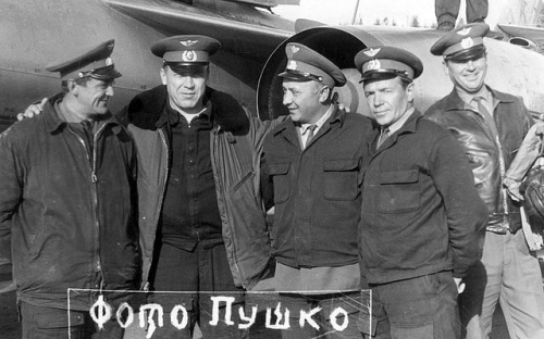 The 641st Guard Fighter Air Regiment PVO's elder Soviet technical engineers in front of their Yak-28P 'Firebar' air defense fighter aircraft in the early seventies.