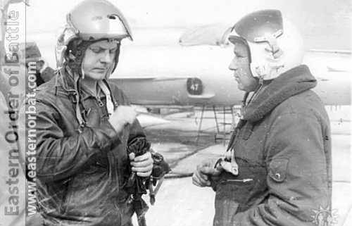 The Soviet Tactical Air Forece  827th Reconnaissance Air Regiment's pilots behind his MiG-21R- Fishbed-H