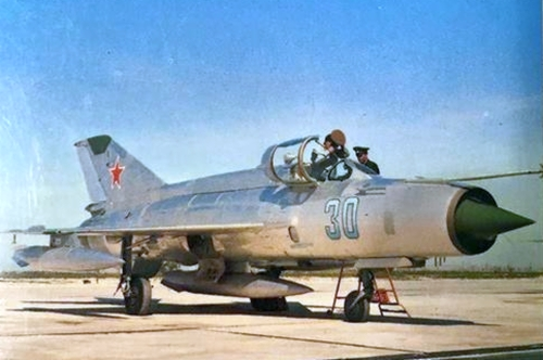 Soviet MiG-21MF Fishbed-J at Reims air base France in Sept 1971 Photo: William Green