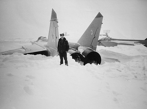 MiG-31 Foxhound interceptors at the snowy Norilsk airport in 1993