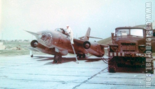 USSR Yak-28R Brewer-D reconnaissance aircraft at Khanabad - Karshi airport in the eighties