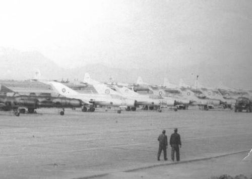 Mig-21 Fishbed row in Bagram airport in 1983. Soviet 927th Fighter Air Regiment's MiG-21SMT Fishbed-K, and afghan 322nd Fighter Air Regiment's MiG-21FL Fishbed-D (b/n 70), MiG-21PFM Fishbed-F (b/n 350), MiG-21UM Mongol-B, MiG-21bis Fishbed-N (b/n 370) and other afghan MiG-21bis with camouflage